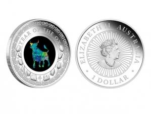 2021澳洲牛年蛋白石銀幣1盎司