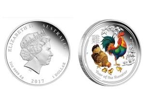 2017澳洲生肖雞銀幣1盎司(系列II-彩色版)
