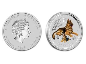 2018澳洲生肖狗銀幣1盎司(系列II-彩色版)