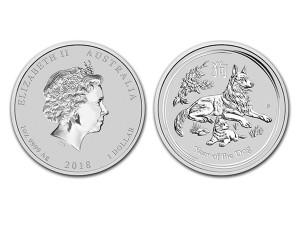 2018澳洲生肖狗銀幣1盎司(系列II)