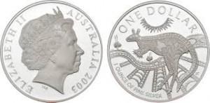 2003澳洲袋鼠銀幣1盎司