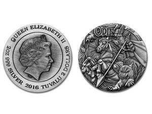 2016澳洲北歐眾神 - 奧丁.999高浮雕仿古銀幣2盎司