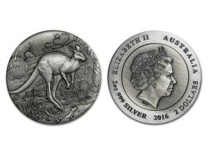 2016澳洲袋鼠高浮雕仿古銀幣2盎司