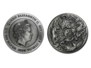 2016澳洲神獸系列之四聖獸高浮雕仿古銀幣2盎司