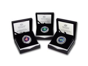 2016澳大利亞彩色北極天空銀幣三枚組