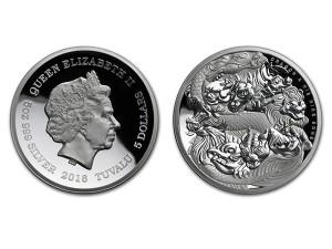 2016圖瓦魯-龍與九子高浮雕銀幣5盎司
