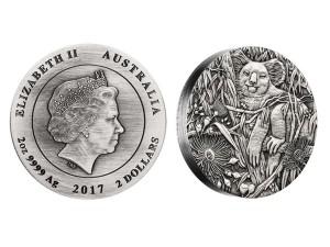 2017澳洲無尾熊高浮雕仿古銀幣2盎司