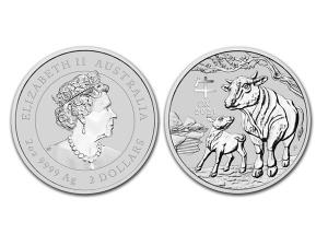 2021澳洲生肖牛銀幣2盎司(系列III)