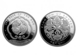 2018不丹-生肖狗銀幣1盎司
