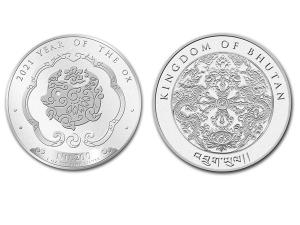 2021不丹-生肖牛銀幣1盎司