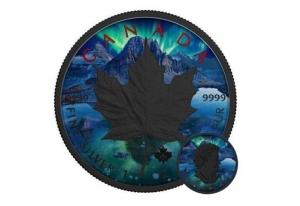 2017加拿大楓葉銀幣1盎司鍍釕極光彩繪版