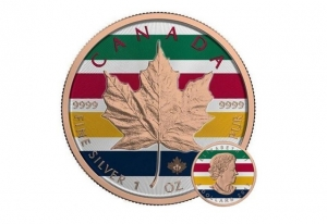 2017加拿大楓葉鍍金國家彩紋彩繪版1盎司