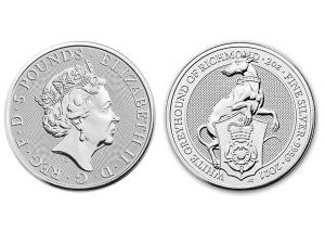 2021英國李奇曼白灰狗銀幣2盎司