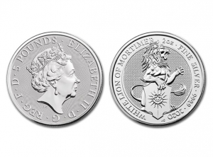 2020英國莫蒂默白獅銀幣2盎司