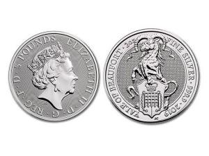 2019英國博福特羊角獸銀幣2盎司