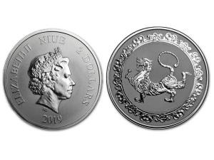 2019紐埃神獸白虎銀幣1盎司
