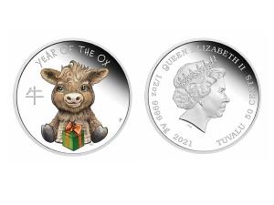 2021吐瓦魯牛寶寶精鑄銀幣0.5盎司