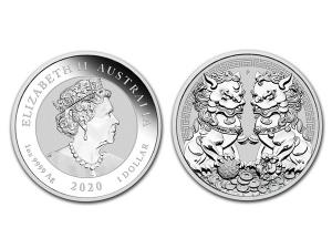 2020澳洲雙貔貅銀幣1盎司