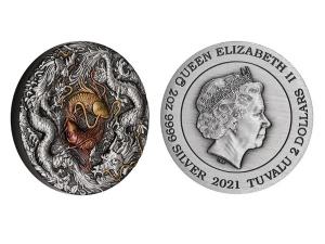 2021吐瓦魯陰陽龍鯉銀幣2盎司