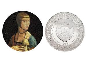 2020帛琉微馬賽克系列- 抱銀貂的女子銀幣3盎司
