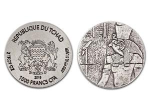 2016查德-埃及遺物系列-荷魯斯仿古銀幣2盎司