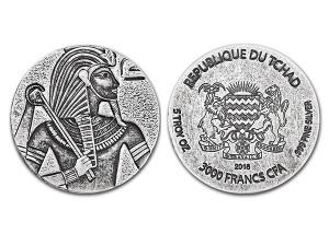 2016古埃及法老 - 圖坦卡門仿古銀幣5盎司