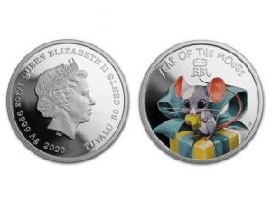 2020吐瓦魯-寶貝鼠精鑄全彩銀幣0.5盎司