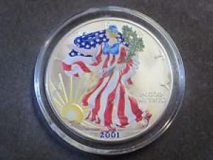 2001美國鷹揚銀幣1盎司-彩繪版