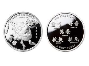 2016美國生肖猴年銀幣0.5盎司