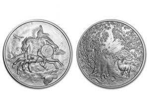 北歐生物仿古銀章5盎司-奧丁駿馬Sleipnir
