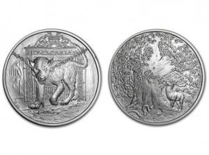 北歐生物仿古銀章5盎司-地獄犬Garm