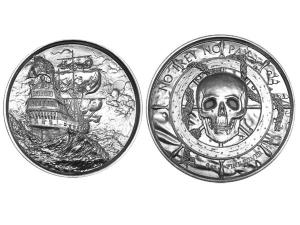 海盜船高浮雕銀幣2盎司