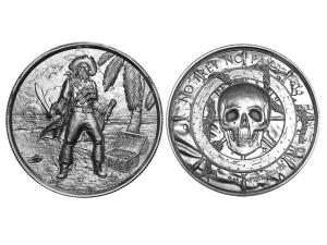 海盜船長高浮雕銀幣2盎司