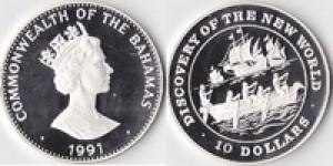 1991年巴哈馬發現新世界10美元925銀幣