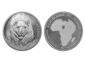 2017查得共和國非洲獅子銀幣1盎司