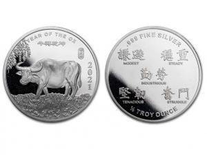 2021美國生肖牛年銀幣0.5盎司