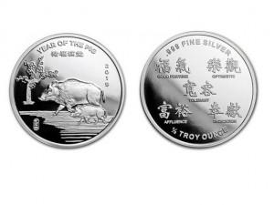 2019美國生肖豬年銀幣0.5盎司