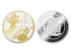 富貴招財銀幣(金)1盎司(附保護殼&展示盒)