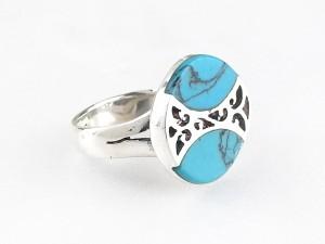 藍紋銀戒指