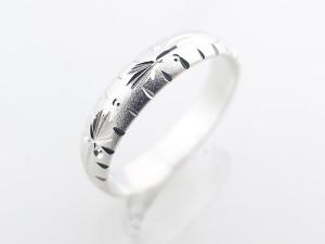 棕櫚雕紋純銀戒