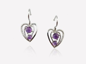 花樣紫晶NO2  純銀耳環