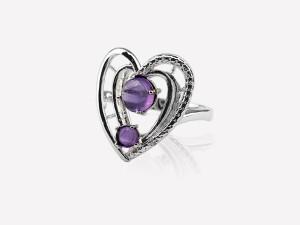 紫色之心-純銀戒指