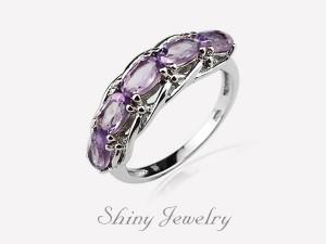 花樣紫晶NO1  銀戒指