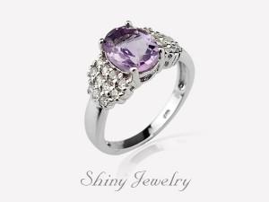 花樣紫晶NO2  銀戒指
