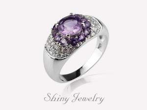 花樣紫晶NO3  銀戒指