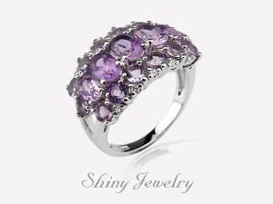 花樣紫晶NO4  銀戒指