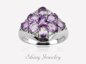 花樣紫晶NO5  銀戒指