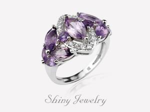 花樣紫晶NO6  銀戒指