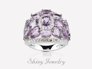 花樣紫晶NO7  銀戒指