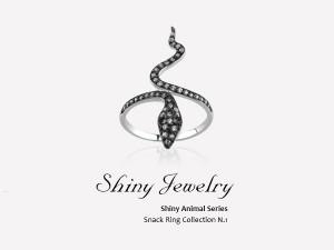 媚惑晶蛇銀戒指